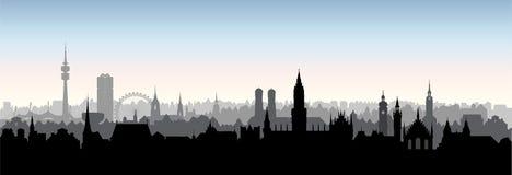 Cidade de Munich, Alemanha Skyline das construções do marco Fundo do curso ilustração stock