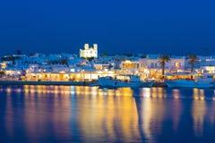 Cidade de Naoussa, ilha de Paros, Cyclades, egeus, Grécia Imagem de Stock Royalty Free