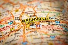 Cidade de Nashville em um mapa de estradas Foto de Stock Royalty Free