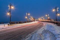 Cidade de Nessebar na noite no inverno Fotografia de Stock Royalty Free