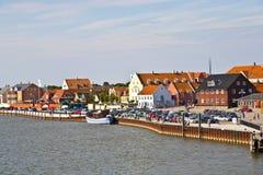 Cidade de Nordby na ilha de Fano em Dinamarca do beira-mar Fotos de Stock Royalty Free