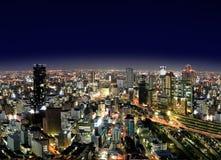Cidade de Osaka em Noite Fotografia de Stock Royalty Free