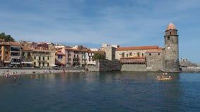 Cidade de porto de Collioure méditerranean Imagem de Stock Royalty Free