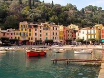 Cidade de Portofino, casas Fotografia de Stock