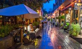 CIDADE DE QUEBEC, CANADÁ - 20 DE JULHO DE 2008: Os turistas apreciam ruas da cidade Imagens de Stock