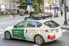 Cidade de Quebec Canadá 11 09 Ruas 2017 apping do carro do veículo da opinião da rua de Google durante todo o centro da cidade de Imagens de Stock