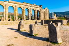 Cidade de Roman Ancient de Volubilis, Meknes, patrimônio mundial S do Unesco imagem de stock