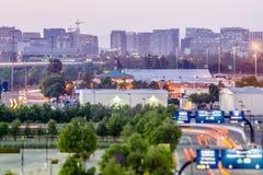 A cidade de San Jose Califórnia ilumina o amanhecer Foto de Stock Royalty Free