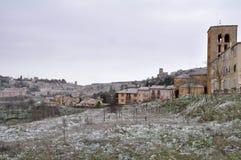Cidade de Sepulveda, dia nevado, Segovia (Espanha) Fotografia de Stock
