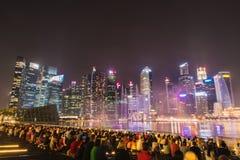 Cidade de Singapore na noite Fotos de Stock Royalty Free
