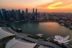 Cidade de Singapura no crepúsculo Fotos de Stock Royalty Free