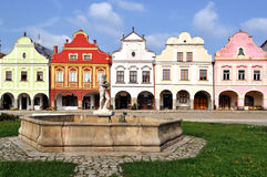 Cidade de Telc, cidade de Telc da república checa, Republi checo Fotos de Stock