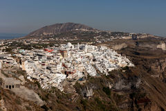 Cidade de Thira Fira - a capital da ilha de Santorini Fotografia de Stock