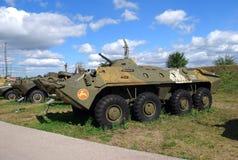 Cidade de Togliatti Museu técnico de K g sakharov Exibição do veículo blindado de transporte de pessoal BTR-70 soviético do museu Imagens de Stock Royalty Free