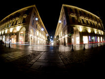 Cidade de Turin Itália na noite foto de stock royalty free