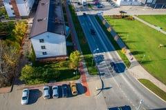 Cidade de Valmiera em Letónia de cima de foto de stock royalty free
