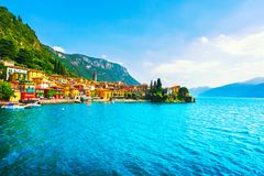 Cidade de Varenna, paisagem do distrito do lago Como Italy, Europa fotografia de stock royalty free