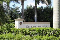 Cidade de Weston, sinal de Florida Fotografia de Stock