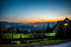 Cidade de Zakopane na noite Imagens de Stock