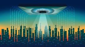 A cidade digital Conceito eletrônico do olho do big brother, tecnologias para a fiscalização global, segurança dos computadores e ilustração royalty free