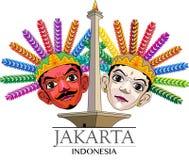 Cidade do ícone da ilustração do vetor de Jakarta Imagens de Stock Royalty Free