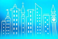 Cidade do brinquedo no papel de parede Fotografia de Stock Royalty Free