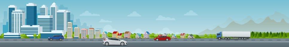 Cidade do conceito do vetor e vida suburbana Rua da cidade, grandes construções modernas, arquitetura da cidade, carros Paisagem  ilustração royalty free