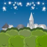 Cidade do conto de fadas da noite Fotografia de Stock Royalty Free