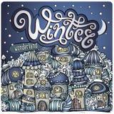 Cidade do conto de fadas do inverno dos desenhos animados do vetor Imagens de Stock Royalty Free