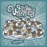 Cidade do conto de fadas do inverno dos desenhos animados do vetor Foto de Stock Royalty Free