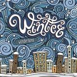 Cidade do conto de fadas do inverno dos desenhos animados do vetor Fotos de Stock Royalty Free