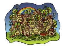 Cidade do desenho do conto de fadas Ilustração do Vetor