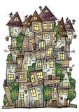 Cidade do desenho do conto de fadas do vetor da fantasia ilustração royalty free