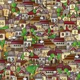 Cidade do desenho do conto de fadas do vetor dos desenhos animados. Fotos de Stock Royalty Free