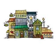 Cidade do desenho do vetor dos desenhos animados Fotografia de Stock Royalty Free
