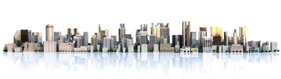 Cidade do dia com imagem da rendição da reflexão 3d ilustração do vetor