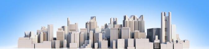 Cidade do dia com imagem da rendição da reflexão 3d no azul ilustração do vetor
