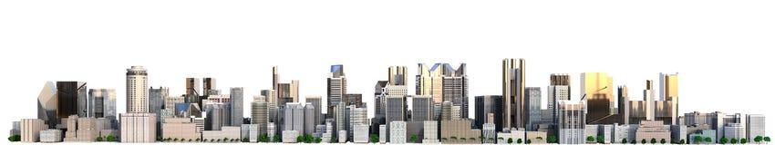Cidade do dia com imagem da rendição da reflexão 3d no branco Fotografia de Stock Royalty Free