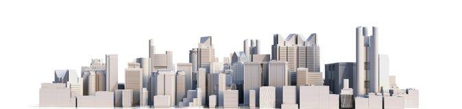Cidade do dia com imagem da rendição da reflexão 3d no branco ilustração do vetor