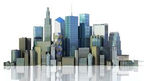 Cidade do dia com imagem da rendi??o da reflex?o 3d no branco ilustração stock