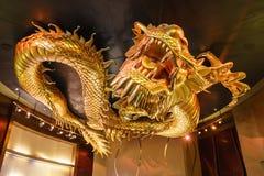 Cidade do dragão dourado do casino dos sonhos que persegue pérola flamejante, Macau fotos de stock