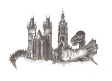 Cidade do dragão, fantasia Foto de Stock Royalty Free