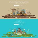 Cidade do eco e ambiental verdes ilustração royalty free