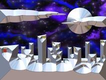 Cidade do espaço com espaço no fundo ilustração royalty free