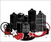 Cidade do estilo de Grunge ilustração royalty free
