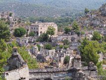 Cidade do fantasma de Levissi Kayakoy imagens de stock royalty free