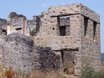 Cidade do fantasma de Levissi Kayakoy fotografia de stock royalty free