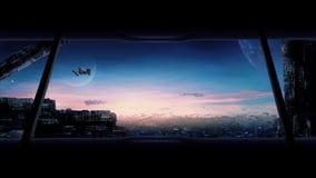 Cidade do futuro com carros e naves espaciais do voo ilustração royalty free