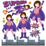 Cidade do gotham do superwoman do superman da menina do super-herói Foto de Stock Royalty Free