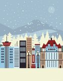 Cidade do inverno Imagens de Stock